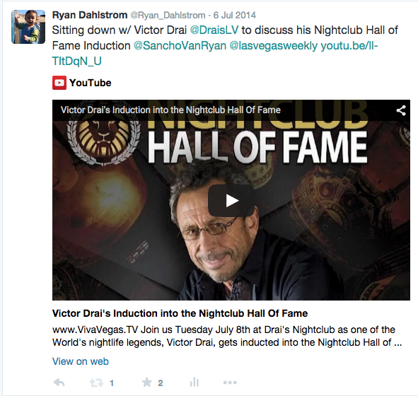 Ryan Dahlstrom Twitter Nightclub Hall of Fame Victor Drai